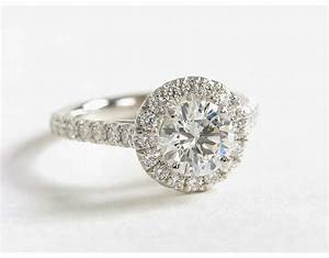 round halo diamond engagement ring in 14k white gold 1 2 With wedding ring round