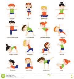 Cartoon Children Yoga Poses