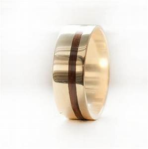 men39s wedding band 10k yellow gold ring with wood inlay With wood and gold wedding rings