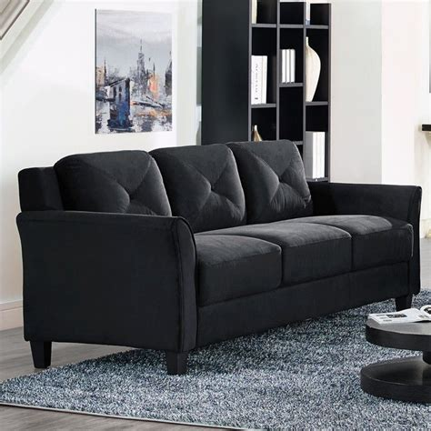 Black Microfiber Sofa And Loveseat by Lifestyle Solutions Hartford Microfiber Sofa In Black
