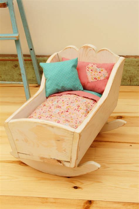 wooden doll cradle refinished shabby chic wood baby