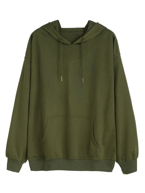 hooded drawstring pullover kangaroo pocket hooded sweatshirt shein sheinside