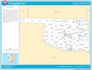 Oklahoma State Map with Counties and Cities