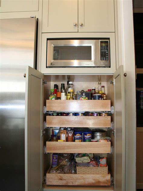 kitchen microwave storage design  small pantry