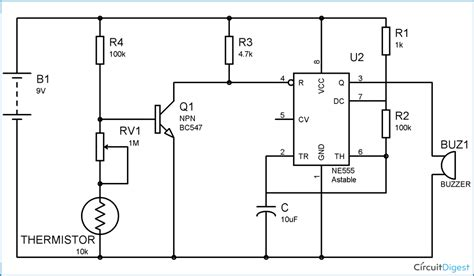 Fire Alarm Circuit Diagram Using Thermistor Timer