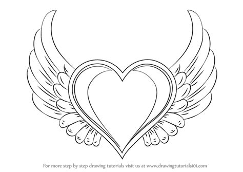 learn   draw heart  wings love step  step drawing tutorials