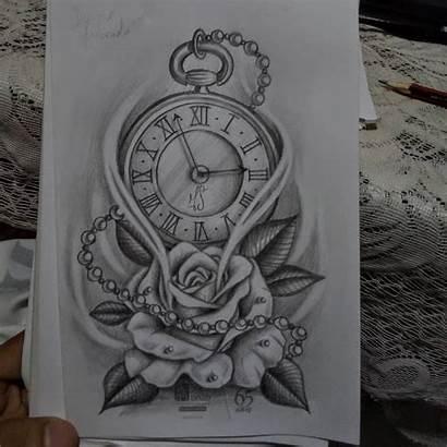 Tattoo Sketches Rose Tatuaje Clock Sleeve Tattoos