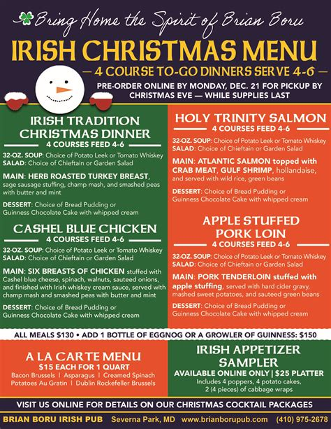 Follow along with our roast beef christmas menu, gather your friends and family, and feast on the best meal you'll eat all year. Irish Christmas Dinner Menu : Serve a traditional christmas dinner menu filled with classic ...