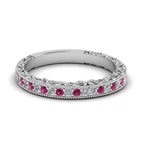 Milgrain Hand Engraved Diamond Wedding Band With Pink