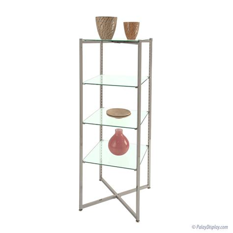 Glass Etagere Display by Folding Glass Etagere Open Shelving Floor Display