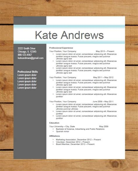 Free Modern Resume Templates For Word by Resume Template Instant Word Document Modern