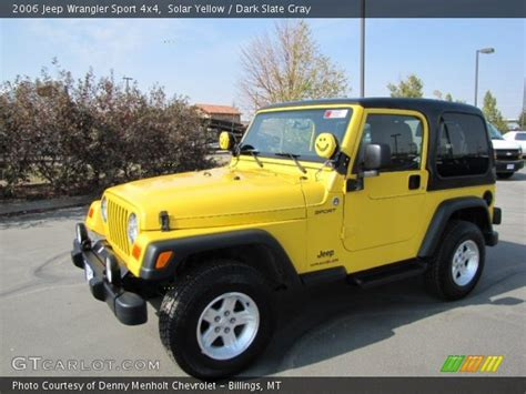 yellow jeep interior solar yellow 2006 jeep wrangler sport 4x4 dark slate