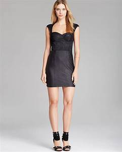 Mango Jeans Size Chart Lyst Guess Dress Faux Leather And Lace In Black