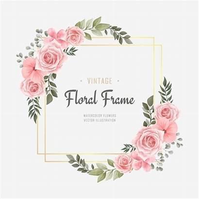 Frame Floral Watercolor Flower Background Golden Vector
