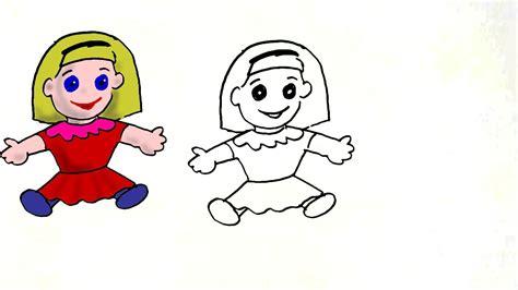 draw  cute doll  easy steps  children kids