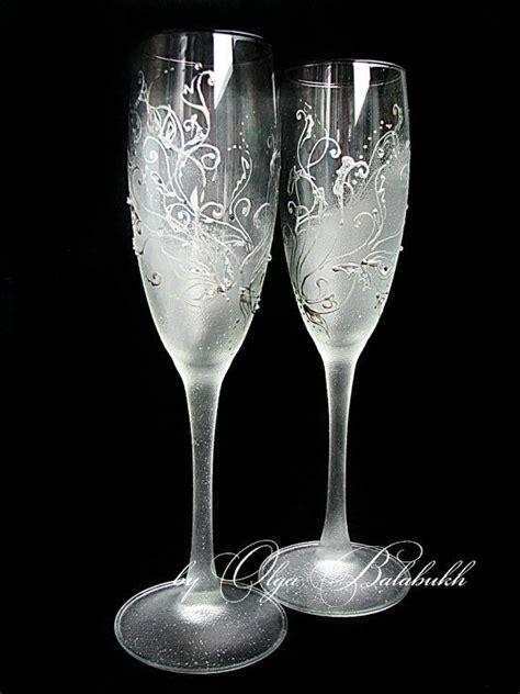 wedding toasting flutes frosty wedding chagne glasses painted silver wedding toasting flutes rhinestones winter