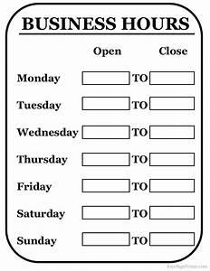 printable business hours sign With hours of operation template microsoft word