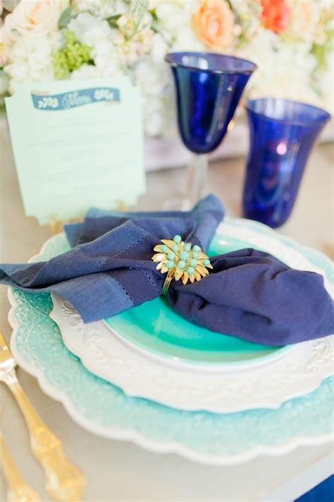 eclectic navy mint peach wedding ideas   detail