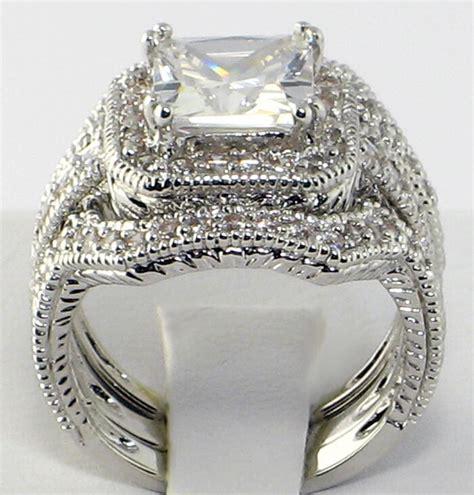 vintage wedding ring princess cut elite vintage 4 ct princess cut cz bridal engagement wedding ring size 8 ebay