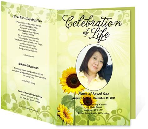 funeral programs template  sunflower background image