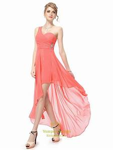 Coral One Shoulder Bridesmaid Dress,Coral High Low Prom ...
