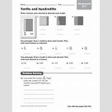Tenths And Hundredths  Homework 211 4th  5th Grade Worksheet  Lesson Planet