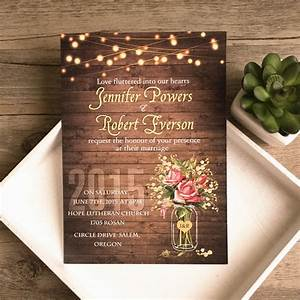 rustic wedding invitations With rustic mason jar wedding invitations with lights
