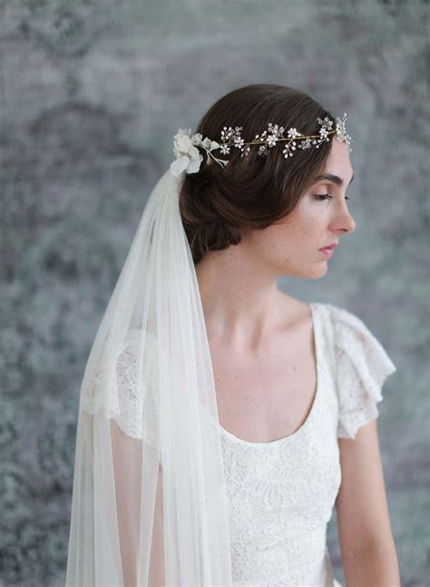 Bridal Crown Veil Crystal And Blossom Full Crown Lux