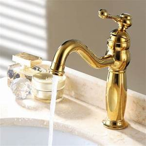 Trunk classic style single hole sink faucet gold for Gold bathroom sink taps