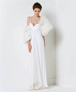 spaghetti strap wedding dress with fur bridal shrug With fur wedding dress