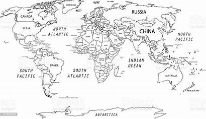 Map Vector Detailed Outline Coloring Countries Printable