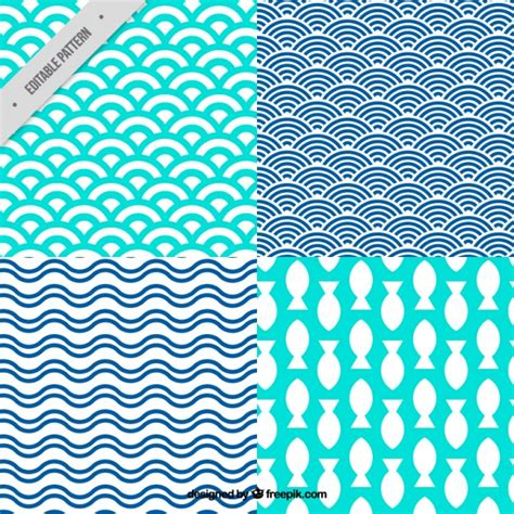 Cute Summer Pattern Collection With Abstract Shapes Vector  Free Download