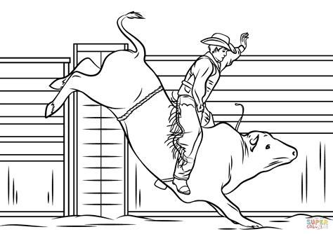 Cowboy Riding A Bull Coloring Page Free Printable