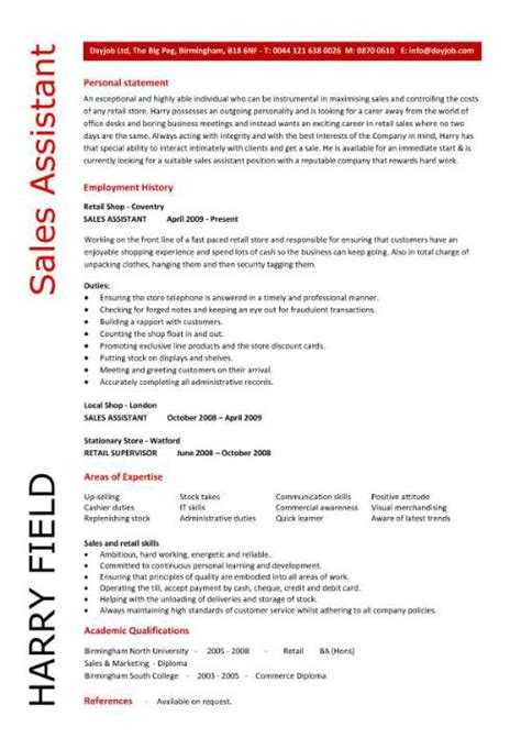 Assistant Resume Sles by Sales Assistant Cv Exle Shop Store Resume Retail