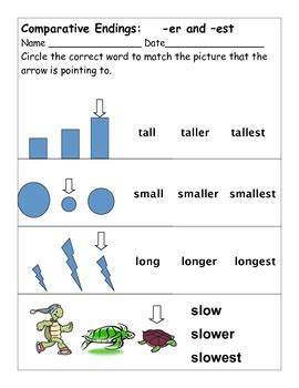 learning comparative endings er  est  educprek tpt