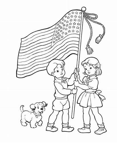 Memorial Coloring Pages Flag Printable American Sketch