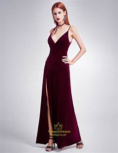 burgundy spaghetti strap v neck evening dress with slits With robe a bretelle fine