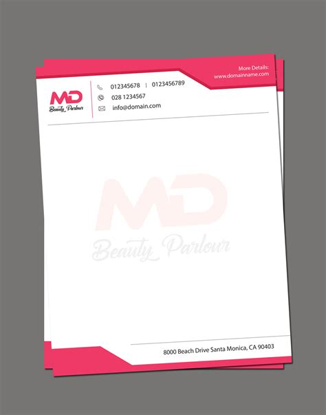 beauty parlour letterhead template