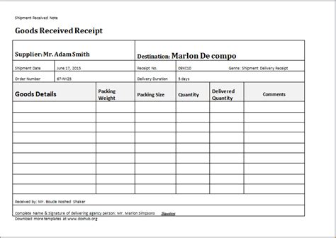 proof  delivery template word excel templates