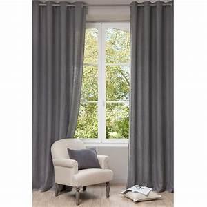 Rideau A Oeillet : rideau illets en lin lav gris l 39 unit 130x300 ~ Dallasstarsshop.com Idées de Décoration