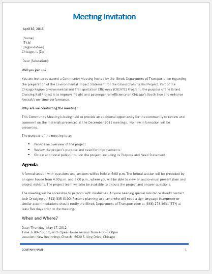meeting invitation template word microsoft word excel