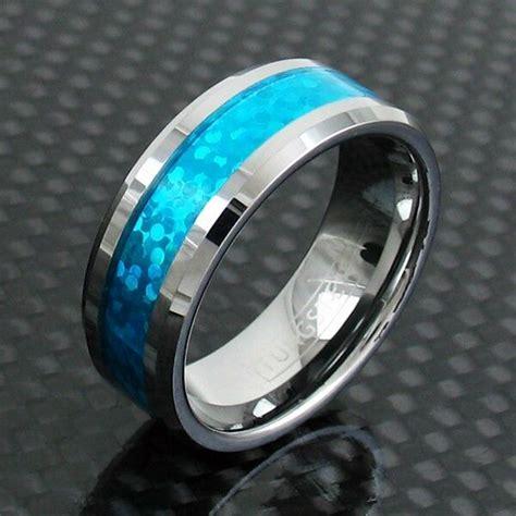 mm tungsten ring hawaiian blue opal center wedding band