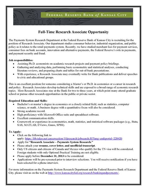 federal reserve bank cover letter research associate opportunity federal reserve bank of