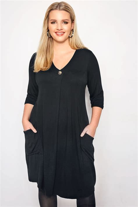 size limited collection black button drape pocket