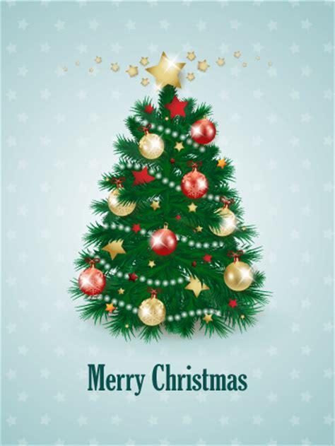 decorated christmas tree card birthday greeting cards