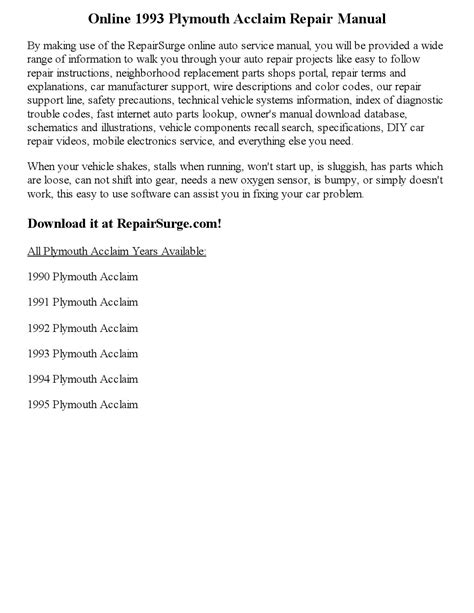 service repair manual free download 1993 plymouth acclaim navigation system 1993 plymouth acclaim repair manual online by wayne darton issuu