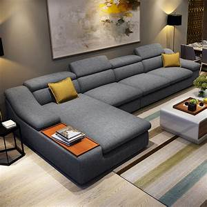 Living room furniture modern l shaped fabric corner for Sectional sofa set up