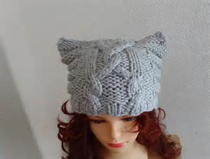beanie with cat ears knit cable cat ears hat cat beanie chunky knit winter by