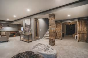 Rustic Cabin Bathroom Lights by Harlan Court Finished Lower Level Rustic Basement