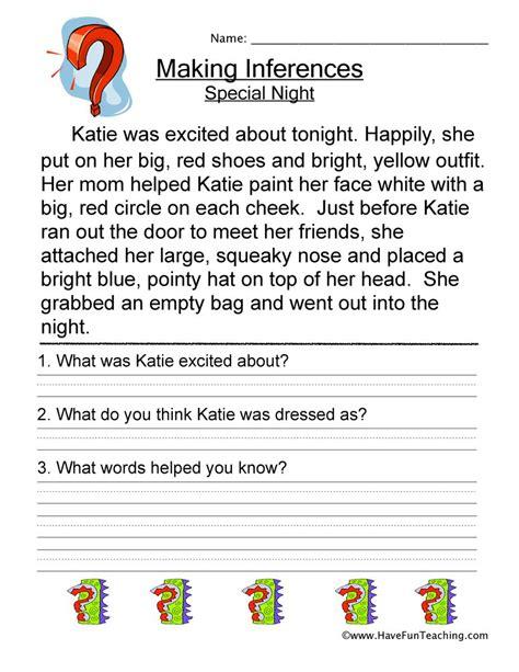 inferences worksheets  fun teaching